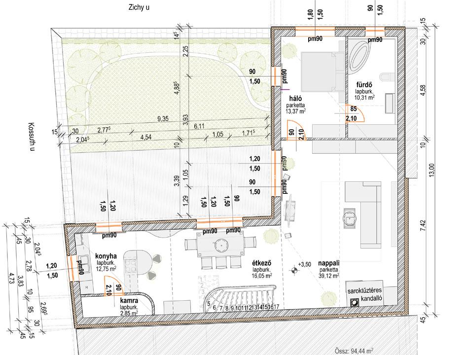 új emeleti szint alaprajza