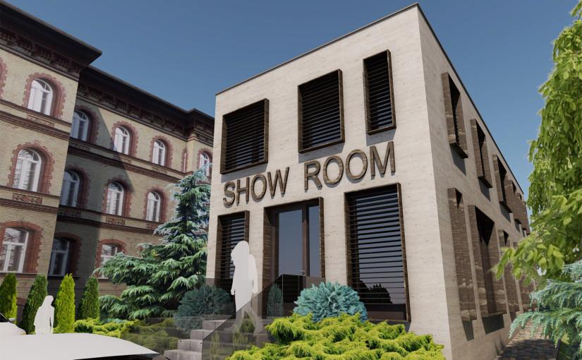 Irodaház és bemutatóterem koncepcióterve a Hungária Körúton